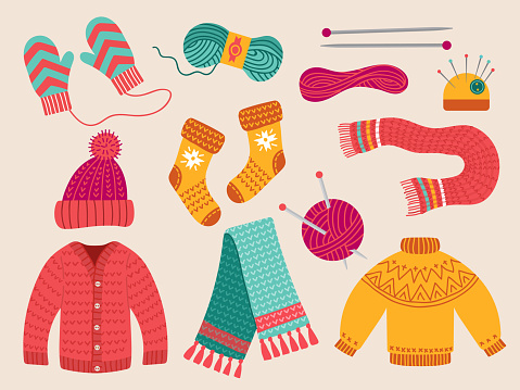 Wool clothes. Fabric woolen fashion colorful handcraft thread clothes collection sweater cap scarf recent vector illustrations collection in flat style