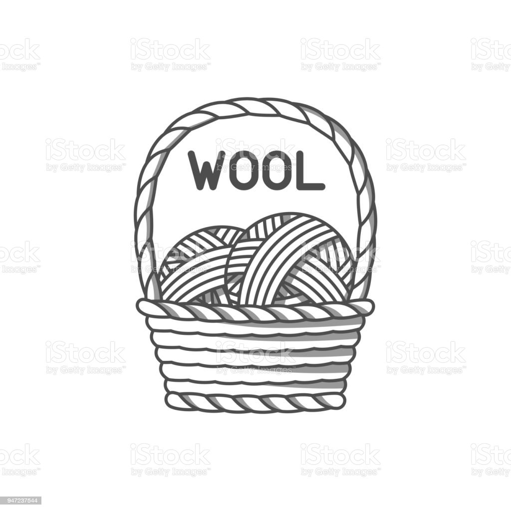 Wool emblem with merino sheep. Label for hand made, knitting or tailor shop vector art illustration