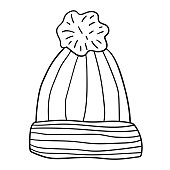 Wool hat with pompom. Hand drawn cartoon doodle linear cap isolated on white background. Vector illustration.