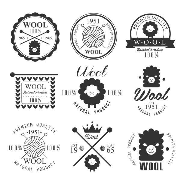Wool labels and elements. Stickers, emblems natural wool products Wool labels and elements. Stickers and emblems for natural wool products. Vector set merino sheep stock illustrations
