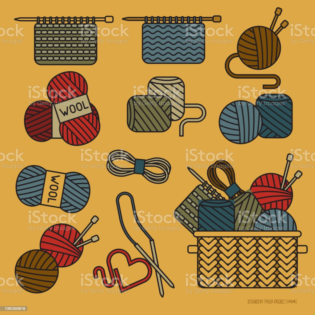 wool linear icons, knitting elements simple design vector art illustration