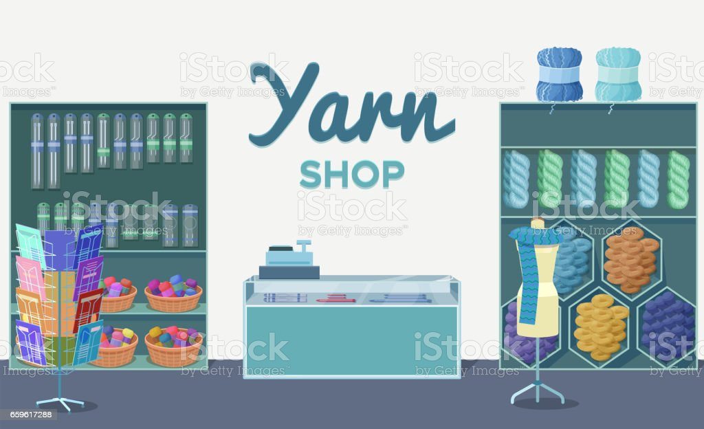 Plantilla interior de la tienda de lana con madejas de hilo, tejer herramientas, m - ilustración de arte vectorial