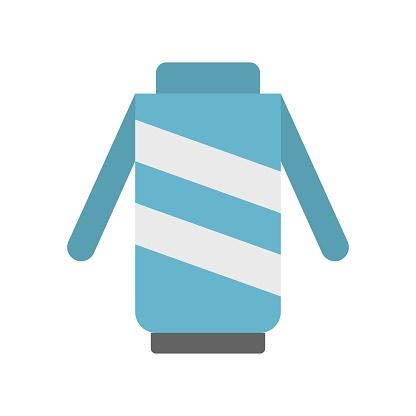 woolen warm sweater or jacket  winter flat design icon.
