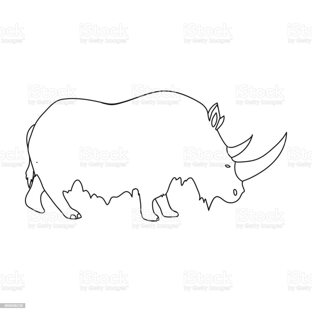 Woolly rhinoceros icon in outline style isolated on white background. Stone age symbol stock vector illustration. ロイヤリティフリーwoolly rhinoceros icon in outline style isolated on white background stone age symbol stock vector illustration - イラストレーションのベクターアート素材や画像を多数ご用意