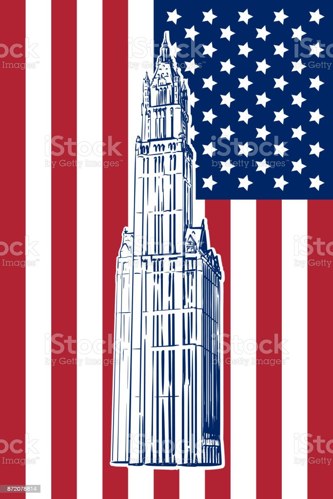Woolworth building sketch on US flag vector art illustration