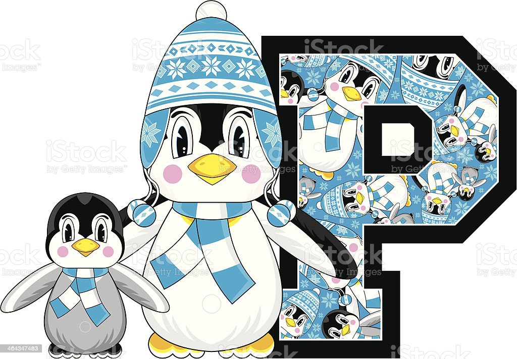 Wooly Hat Penguin Learning Letter P royalty-free stock vector art