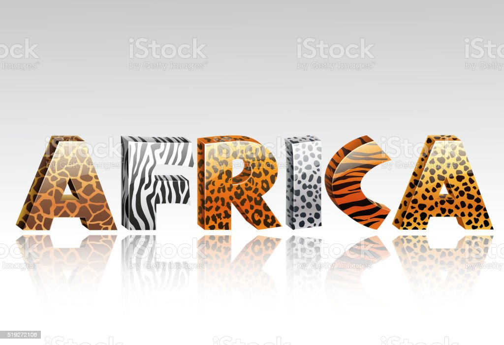 Word africa with animal fur and ethnic decoration
