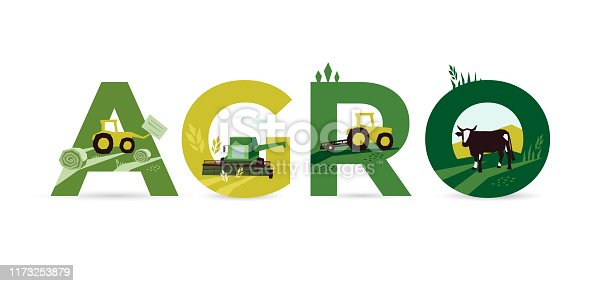 Letters AGRO with Illustrations of agriculture, tractor, farm land, cow, hayfield, haystack rolls, livestock, harvest, combine harvester. Template for banner, annual report, prints, flyer, booklet, web