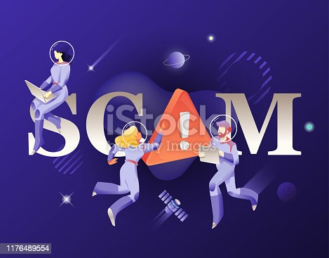 SCAM word and astronauts illustration. Vector typography design of mobile security.