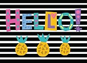 word art Hello with bright cartoon pineapples