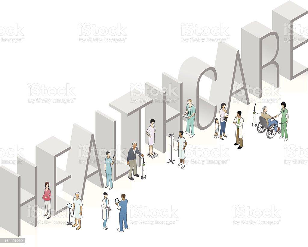 HEALTHCARE Word Art vector art illustration