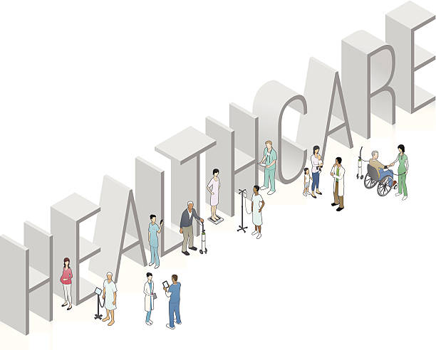 HEALTHCARE Word Art vector art illustration