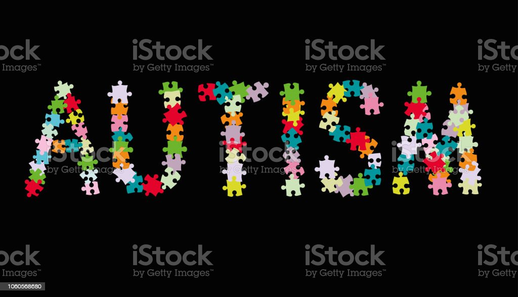 Word AUTISM made of multi colored puzzle pieces on black background. Vector illustration.