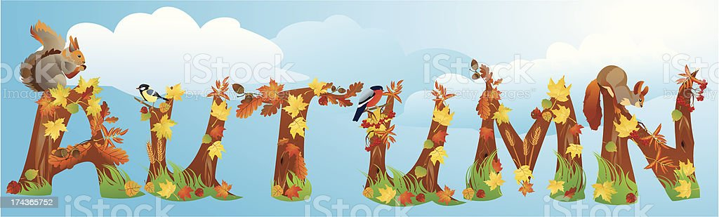 Word AUTUMN is made of leafs, yields, squirrels and birds royalty-free word autumn is made of leafs yields squirrels and birds stock vector art & more images of acorn