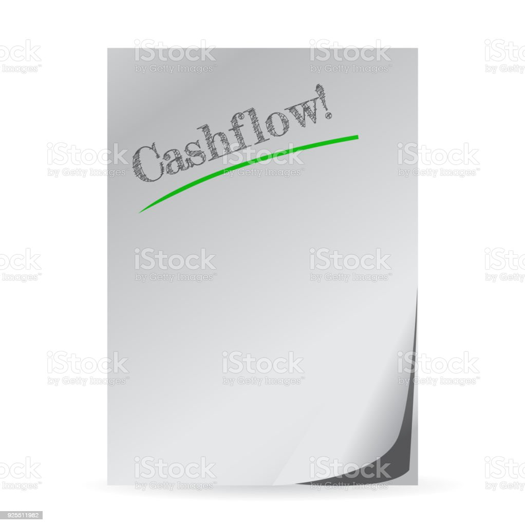 word cashflow written on a white paper illustration design vector art illustration