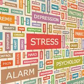 Word chart on stress, depression and psychology
