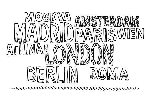 Word Cloud Cities Europe Drawing