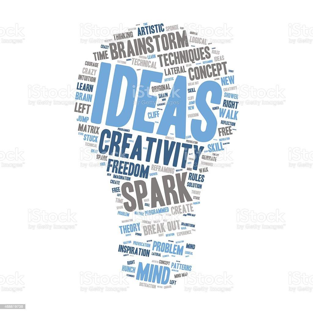 Word Cloud-Kreativität und Inspiration – Glühbirne Form  – Vektorgrafik