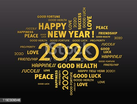 Gold greeting words around New Year date 2020, on black background