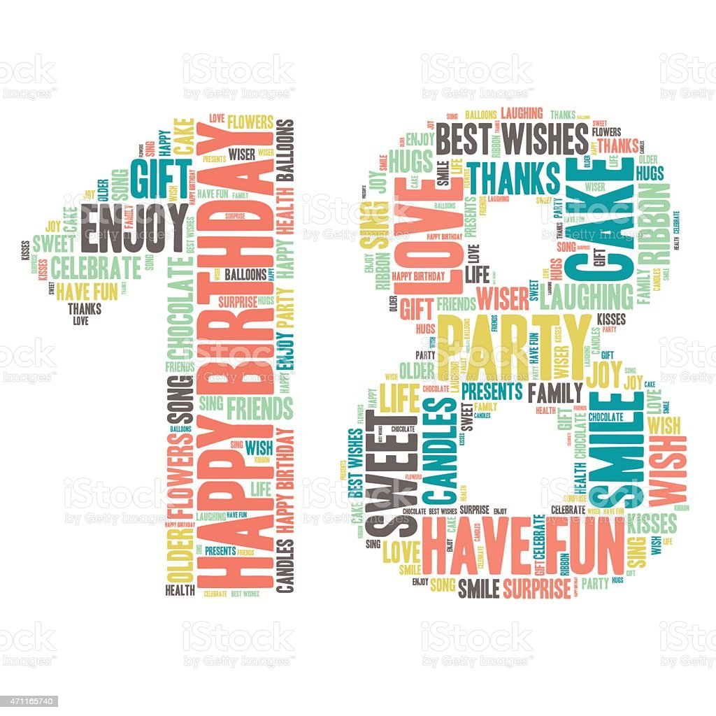 Word Cloud - Happy Birthday Celebration - 18 vector art illustration