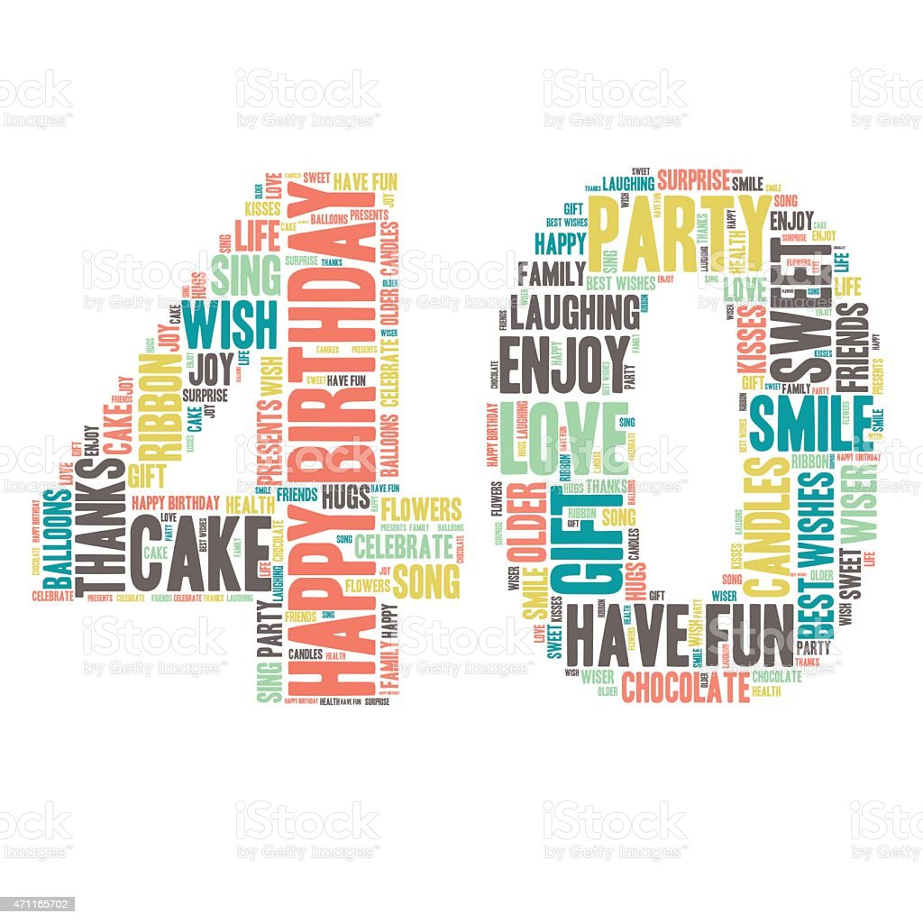 Word Cloud-alles Gute zum Geburtstag Feier - 40  – Vektorgrafik