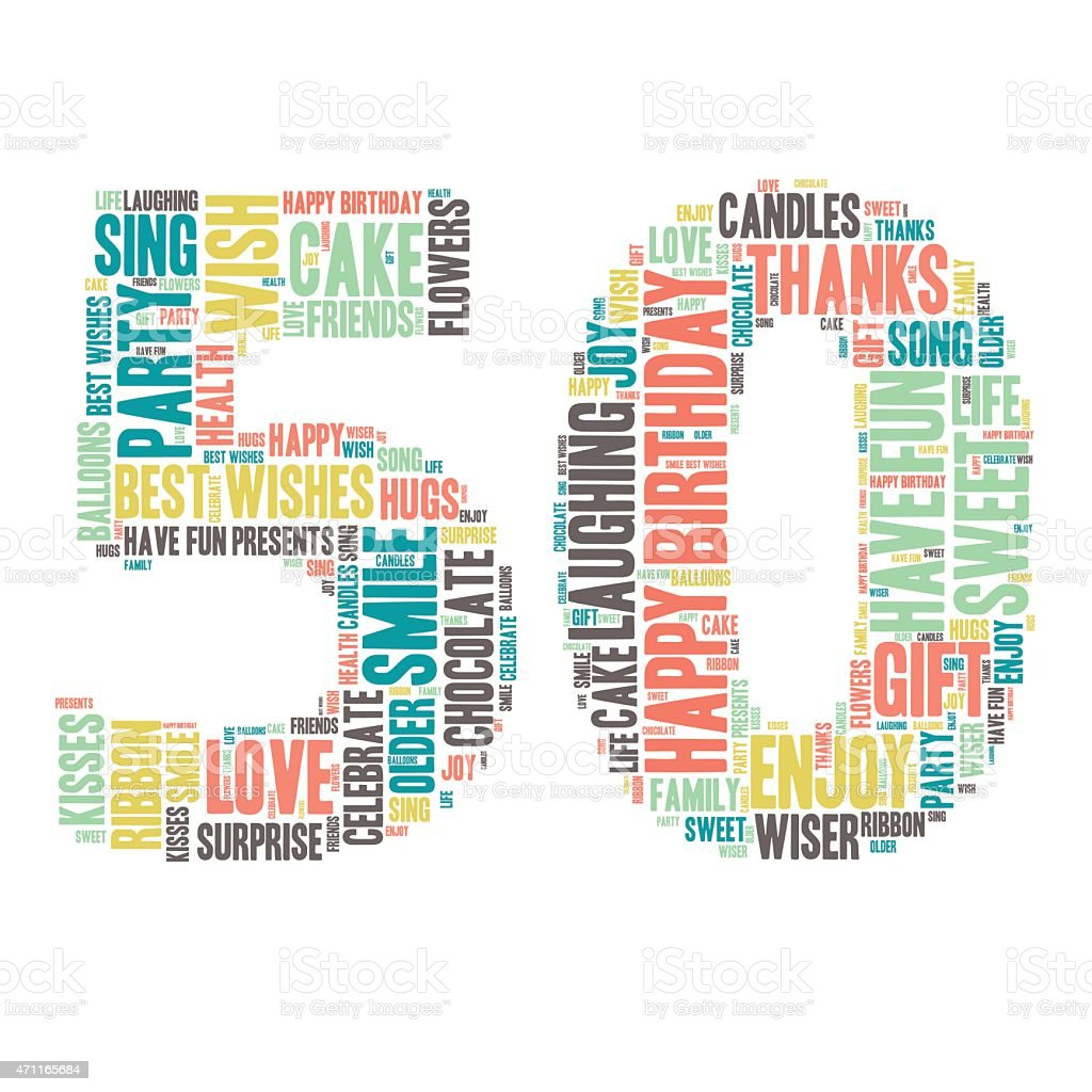 Word Cloud - Happy Birthday Celebration - 50 vector art illustration