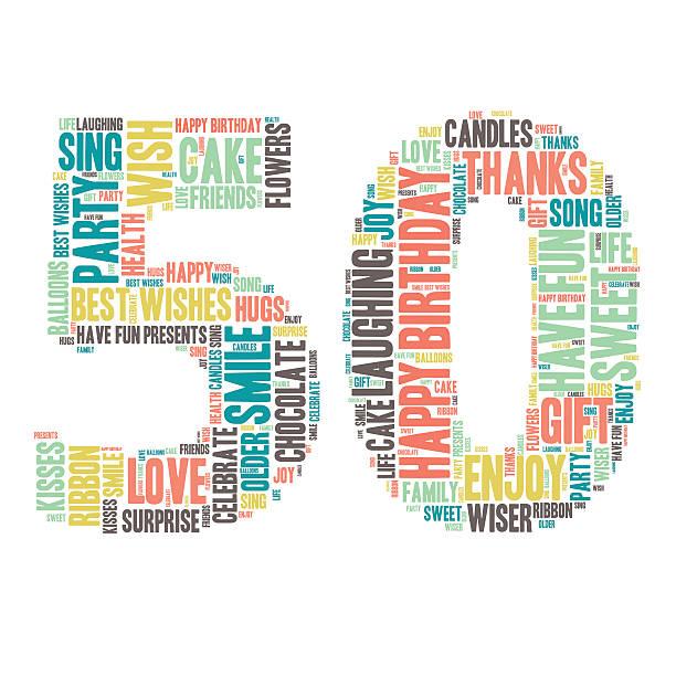 bildbanksillustrationer, clip art samt tecknat material och ikoner med word cloud - happy birthday celebration - 50 - 50 54 år