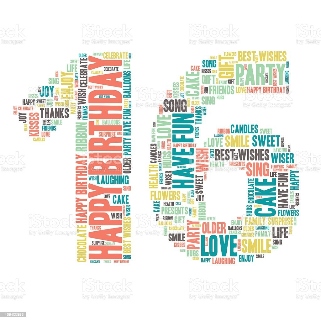 Word Cloud-alles Gute zum Geburtstag Feier - 16  – Vektorgrafik