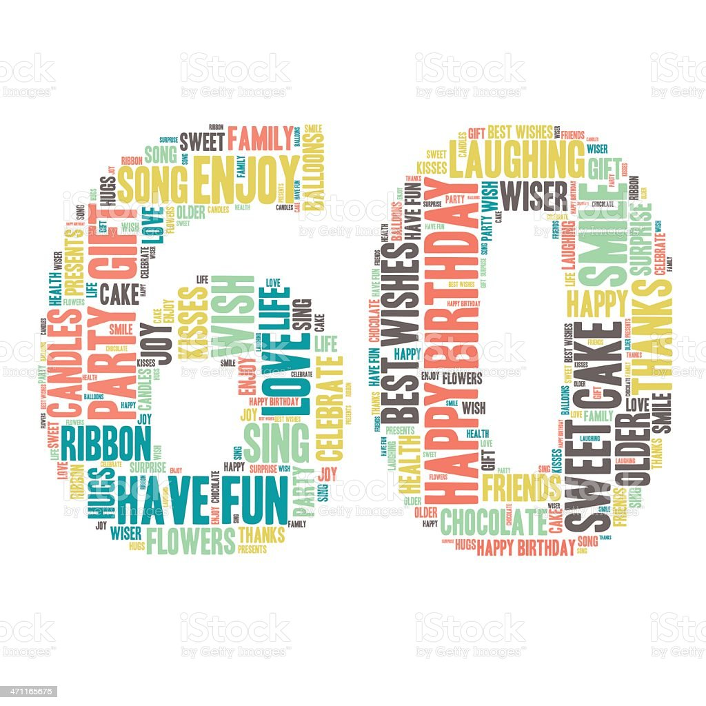 Word Cloud-alles Gute zum Geburtstag Feier - 60  – Vektorgrafik