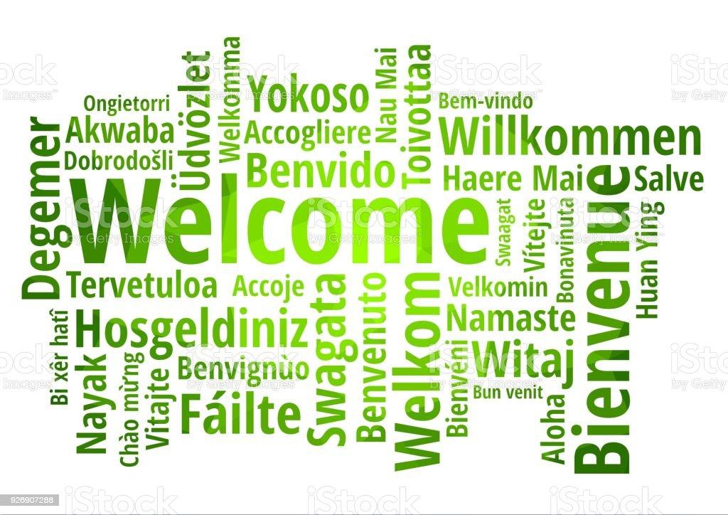 Nube de palabra bienvenido en diferentes idiomas fondo for Green in different languages