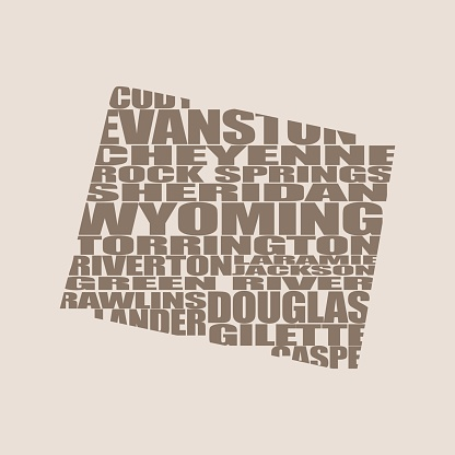 Word cloud map of Wyoming state