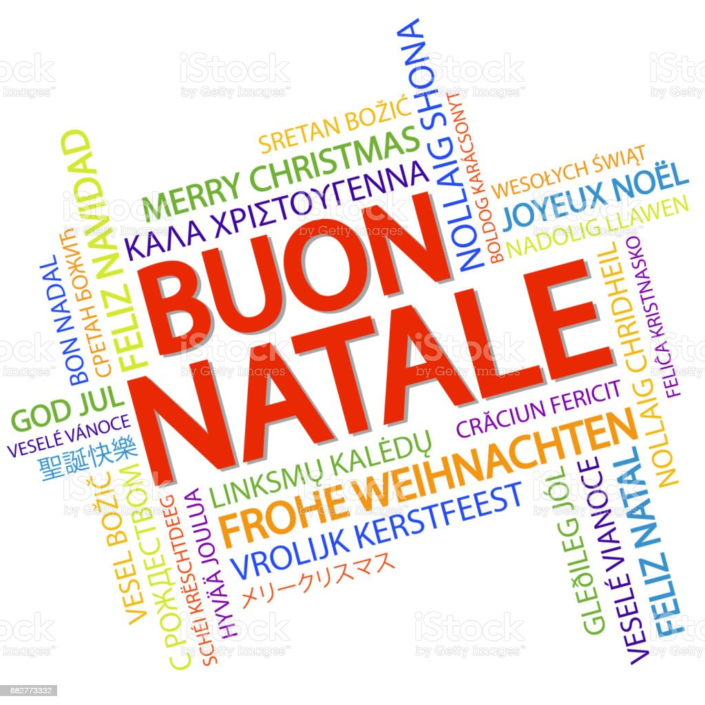 Word cloud Merry Christmas (in Italian) vector art illustration