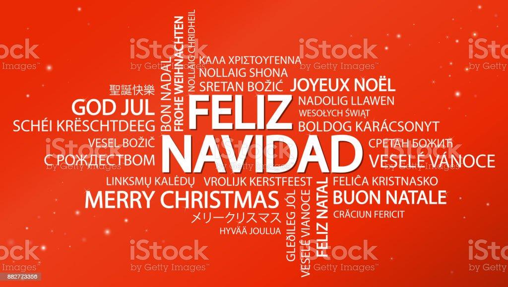 Word cloud Merry Christmas (in Spanish) vector art illustration
