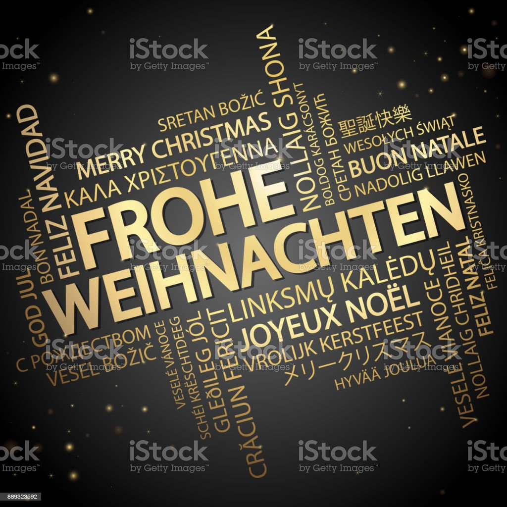 Word cloud Merry Christmas (in German) vector art illustration