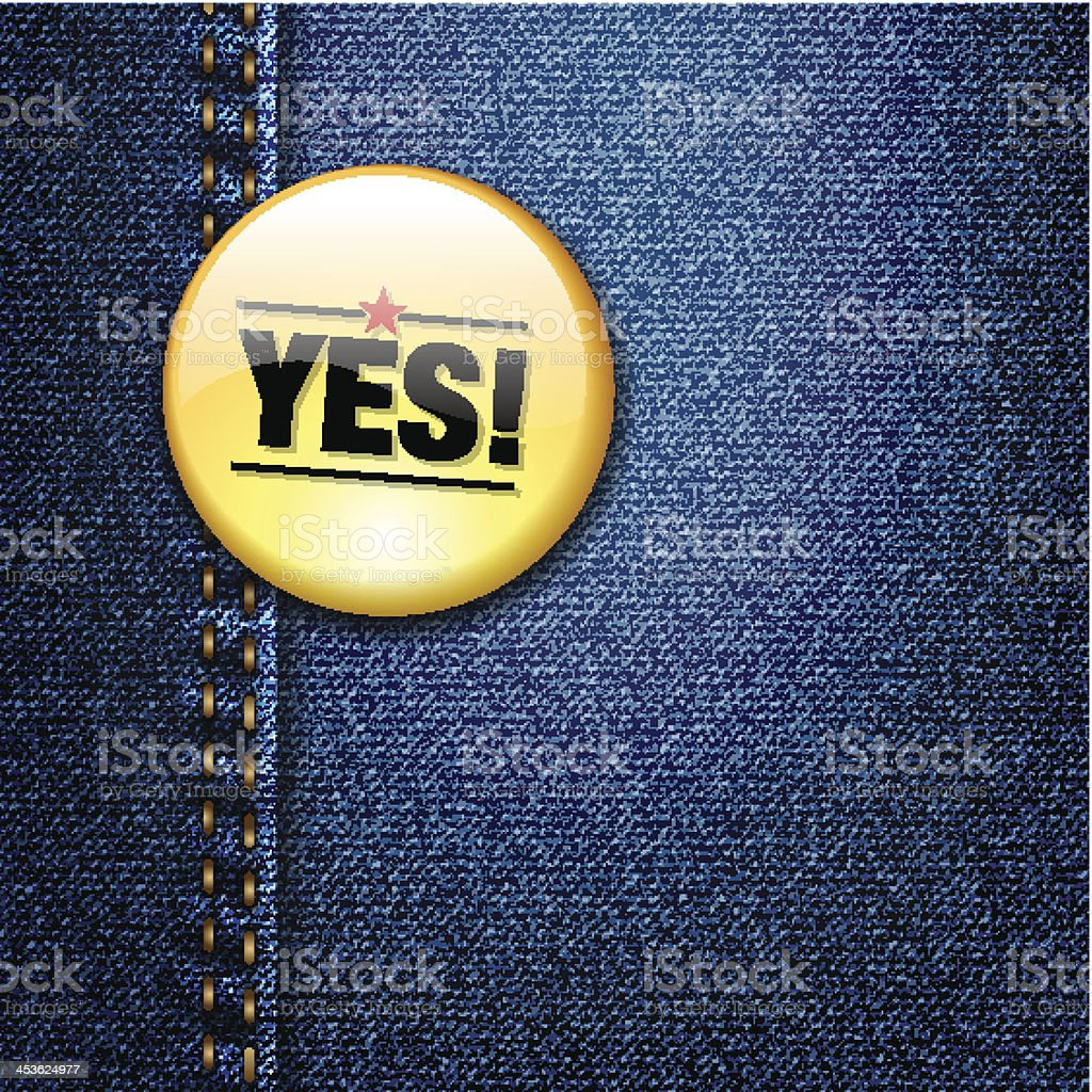 YES word colorful badge on denim jeans fabric royalty-free yes word colorful badge on denim jeans fabric stock vector art & more images of 1960-1969