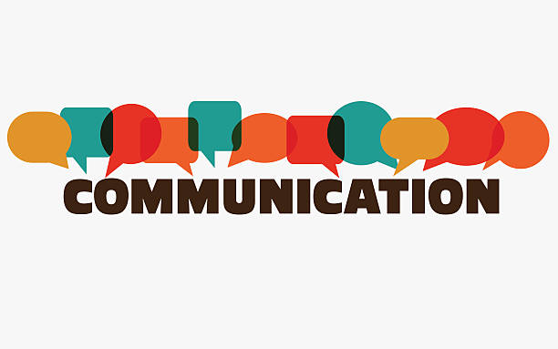 "Word ""communication"" with colorful dialog speech bubbles. Communication vector concept Vector illustration of a communication concept. The word ""communication"" with colorful dialog speech bubbles single word stock illustrations"