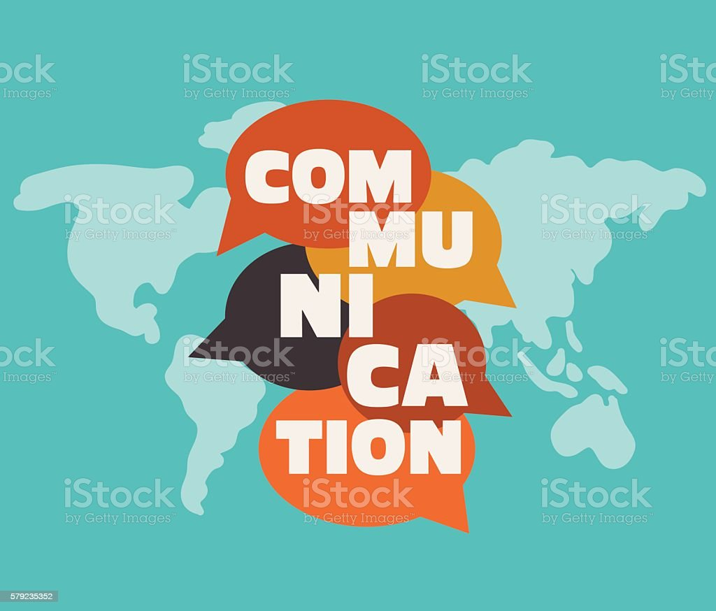 Word 'communication' with colorful dialog speech bubbles over world map vector art illustration