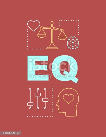 EQ word concepts banner. Emotional intelligence. Ability to control feelings. Presentation, website. Isolated lettering typography idea, linear icons. Emotion management. Vector outline illustration