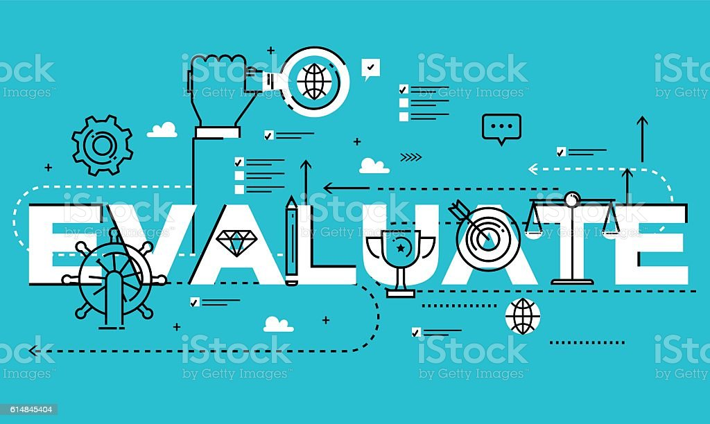 Word EVALUATE, line flat vector business design vector art illustration