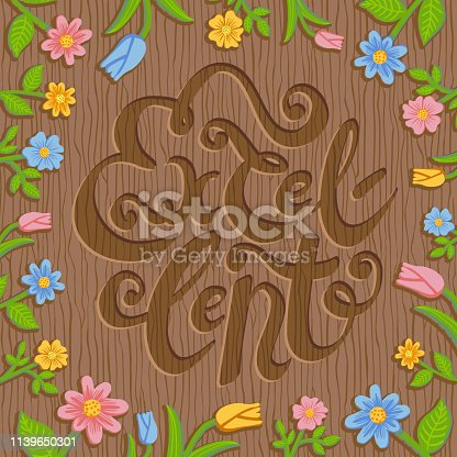 Colorful vector hand drawn illustration of word Excellent engraved on wooden background with summer floral frame. Square layout design for rustic style packaging, card, invitation, presentation.