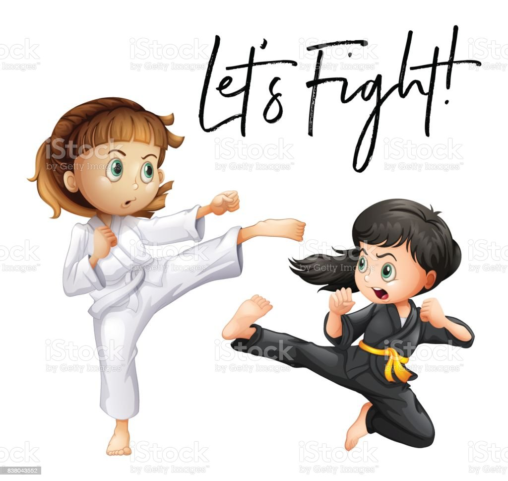 Word expression for let's fight with two girls fighting vector art illustration
