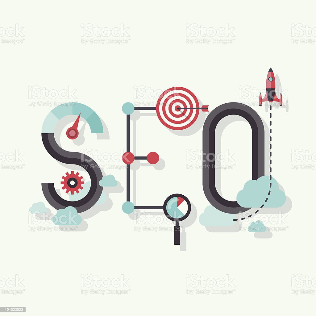 SEO word flat illustration vector art illustration