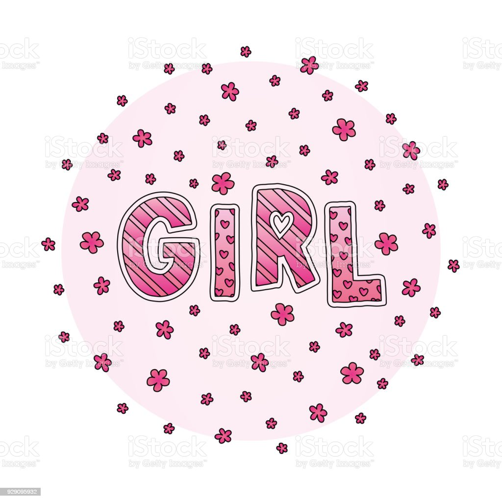 Word Girl With Flowers Hand Lettering Pink Colors Print For Cards ...