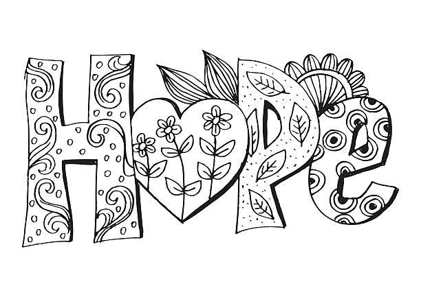 ilustrações de stock, clip art, desenhos animados e ícones de word hope stylized - hope