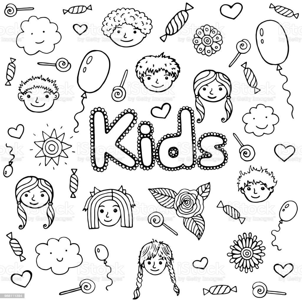 Wort Kinder Malvorlagen Für Kinder Und Erwachsene Doodle Cartoon ...