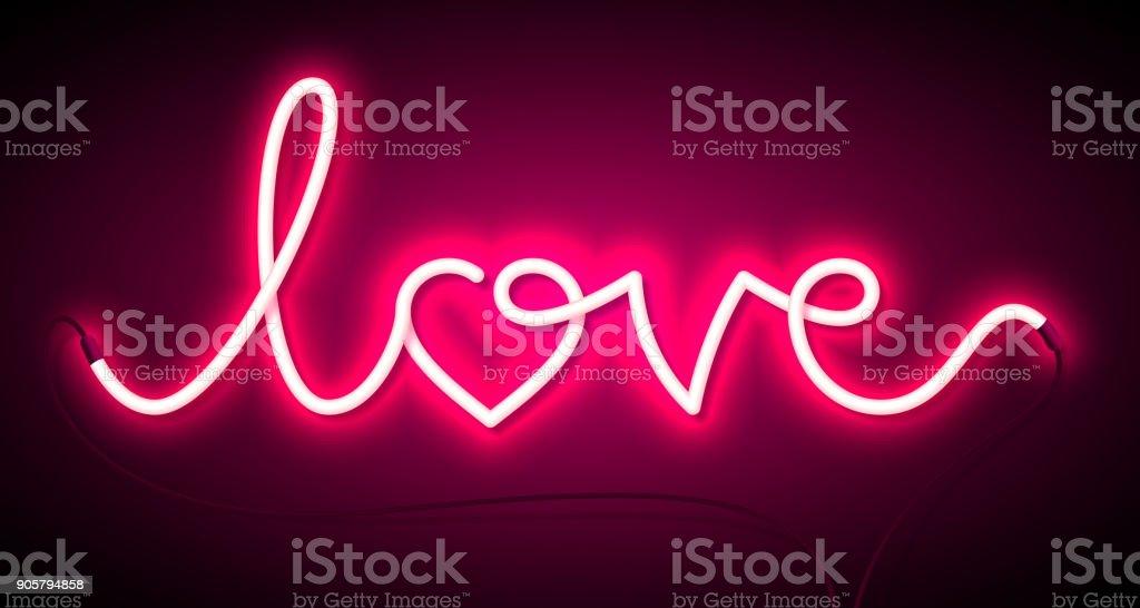 Word Love neon sign vector art illustration