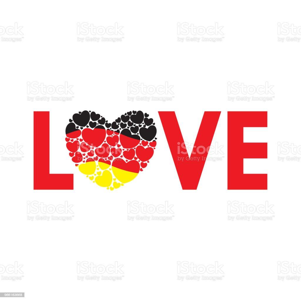 Ordet kärlek med tysk flagg - Royaltyfri Abstrakt vektorgrafik