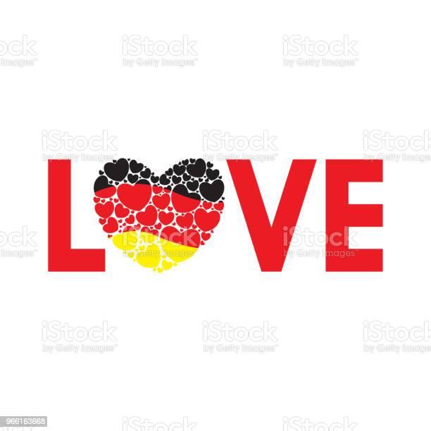 Ordet Kärlek Med Tysk Flagg-vektorgrafik och fler bilder på Abstrakt