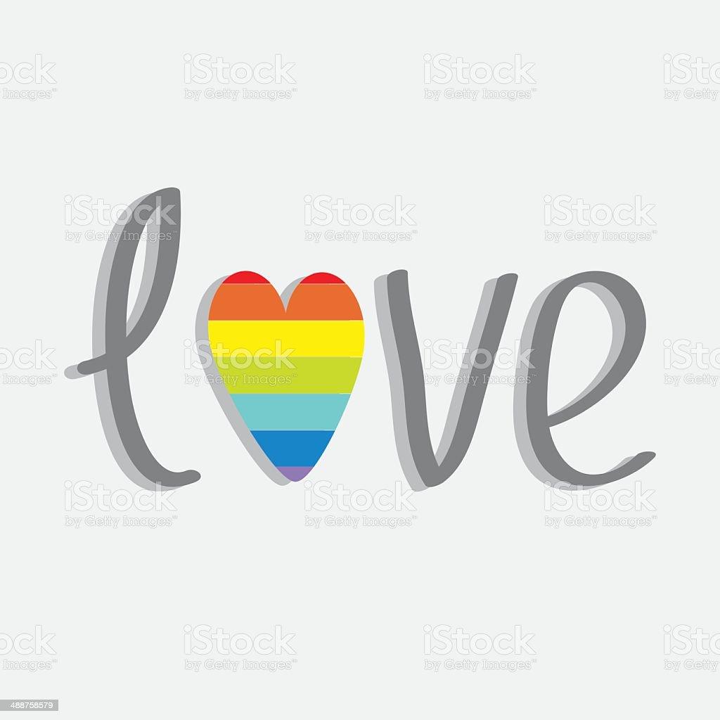 Palabra amor con arco iris corazón.  Diseño plano. - ilustración de arte vectorial