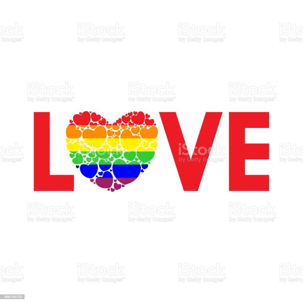 Woord liefde geschreven in regenboogkleuren - Royalty-free Begrippen vectorkunst
